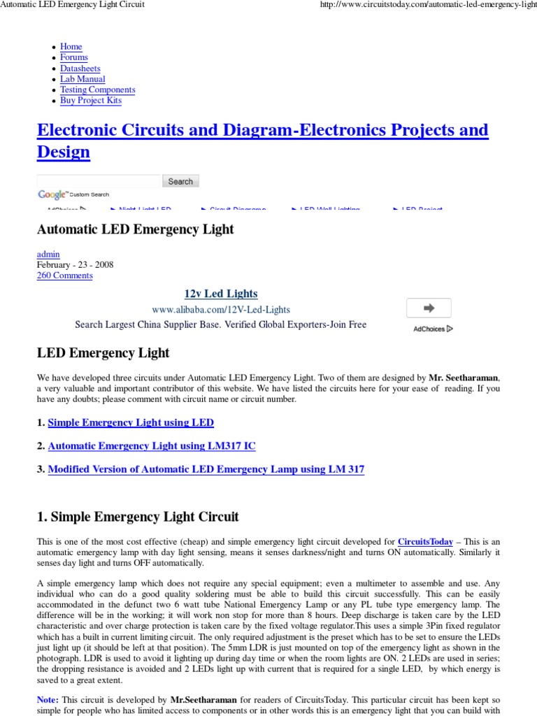 Automatic LED Emergency Light Circuit-1 | Light Emitting Diode ...