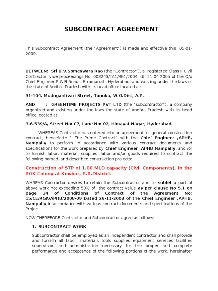Kowkur Sub Agreement Arbitration General Contractor