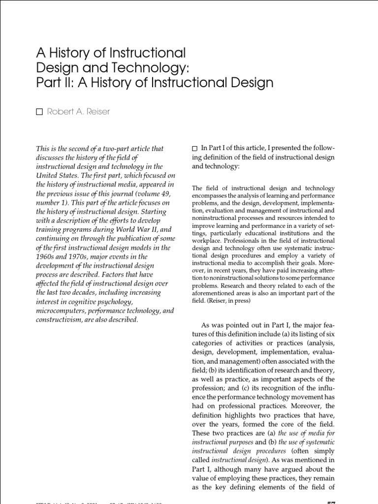 history of instructional design instructional design constructivism philosophy of education