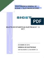 Boletin de Estadisticas Electricas 2011 SIGET
