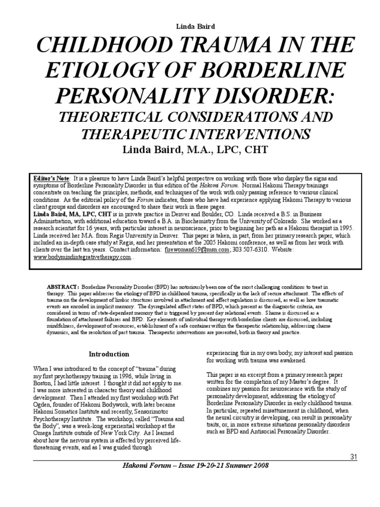 Chilhood Trauma in the Etiology of Borderline Personality