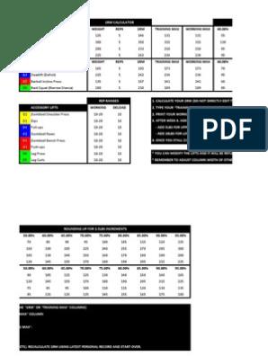 Wendler 531 Spreadsheet