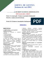 Tematica Drept Licenta 2013 Vara