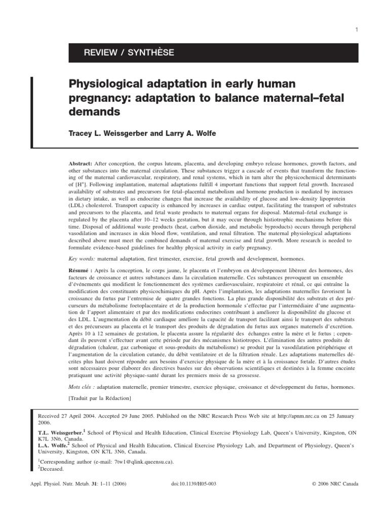 Physiology Adaptation Pregnancy Placenta