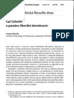 Mouffe Carl Schmitt a paradox liberální demokracie