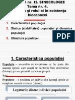 Tema nr. 4. Populaţia şi rolul ei în existenţa biocenozei