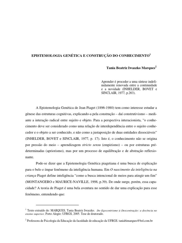 9ef0ddb6cd2 Epistemologia Genetica e Construcao Do Conhecimento