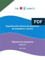 Especificaciones Técnicas Valvula de Compuerta