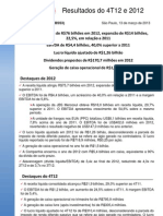 Press-release referente ao 4T12