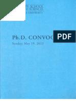 GSAS PhD Convocation Program - 2013