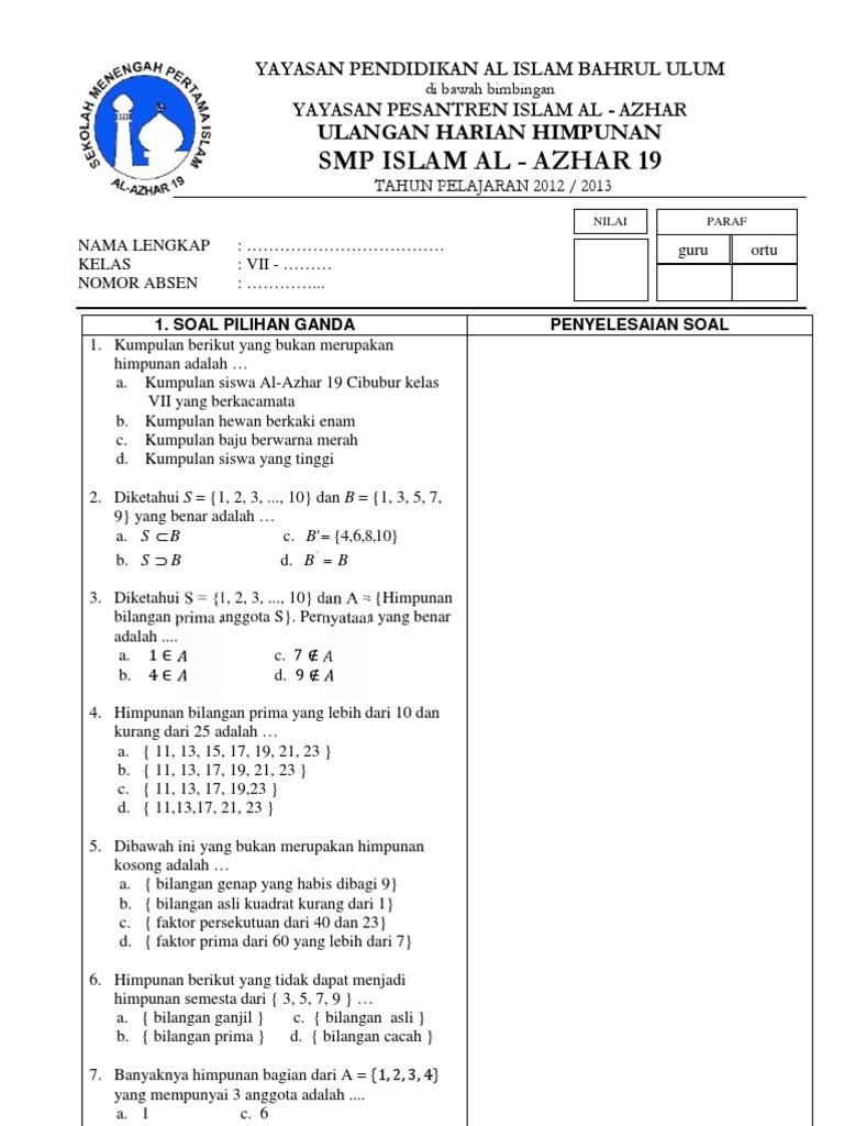 Contoh Soal Bilangan Bulat Kelas 7 Semester 1 Blog Pendidikan
