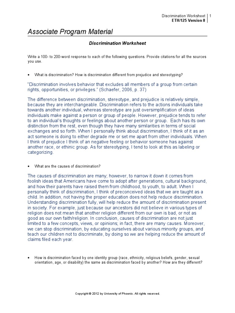 common causes of discrimination essay Free essay: the purpose of this paper is to examine the causes, consequences and remedies of racial discrimination in the labor market understanding racial.