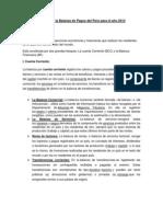 Análisis de la Balanza de Pagos del Perú para el año 2012