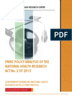 PMRC Policy Analysis of the National Health Research Act No. 2 of 2013
