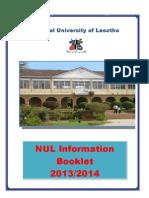 01 NUL Information Booklet 2013