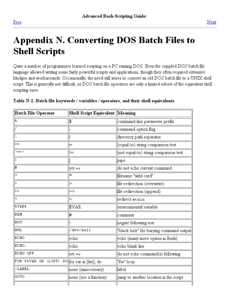 Converting DOS Batch Files to Shell Scripts | Interfaz de línea de