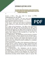 RA 6770- Ombudsman Act of 1989
