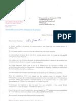 Courrier de Roland Chassain à Jean-François Copé