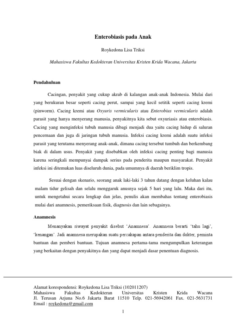 Diagnosis banding enterobiasis. Raport de Autoevaluare 2011