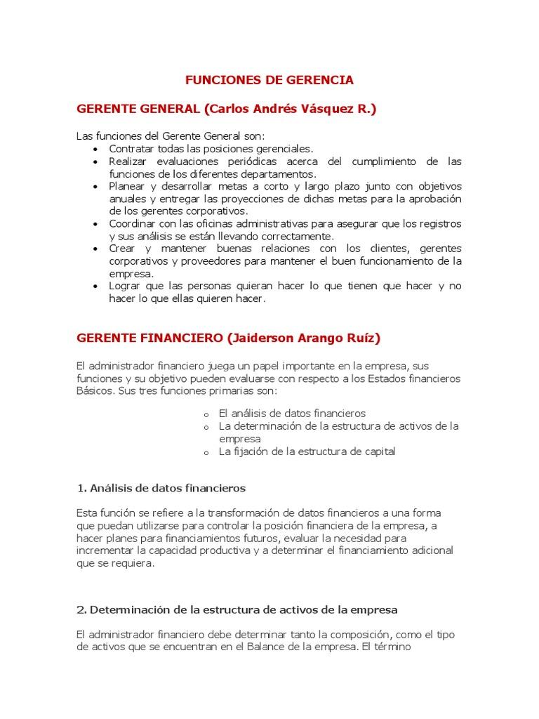 Perfecto Resumen De Objetivo De Gerente De Finanzas Composición ...