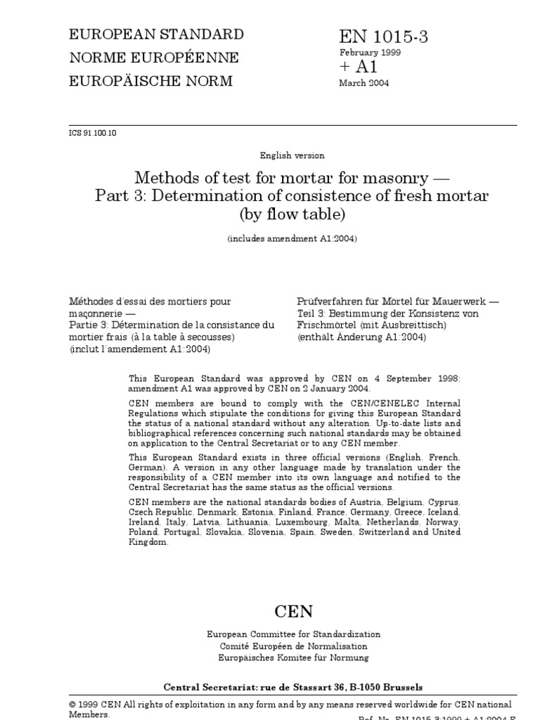 Bs En 1015 03 2004 Determination Of Consistence Of Fresh