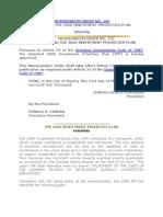 Memorandum Order 105- Investment Priorities Plan