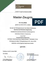 Master Zeugnis Dony