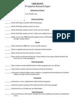 4th qtr research paper checklist
