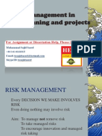 Risk Management in Service Planning and Project