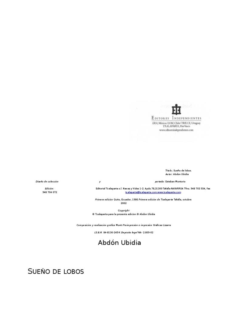 SUEÑO DE LOBOS - Abdón Ubidia