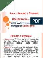 Aula de Rec. Resumo e Resenha-2012