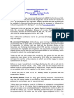 3Q11 Conference Call Transcription