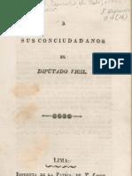 Francisco de Paula González Vigil. A sus conciudadanos... Lima, 1833.