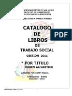 CATÁLOGO_LIBROS_DE TRABAJO SOCIAL Gestión_2011__jm