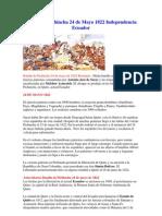 Batalla de Pichincha 24 de Mayo 1822 Independencia Ecuador