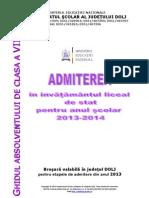 Brosura Admitere Liceu Dolj 2013-2014