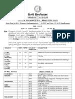 Maths Datesheet BSC H MATHS