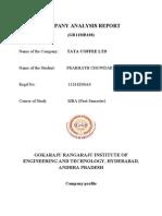 Tata Coffee company analysis report