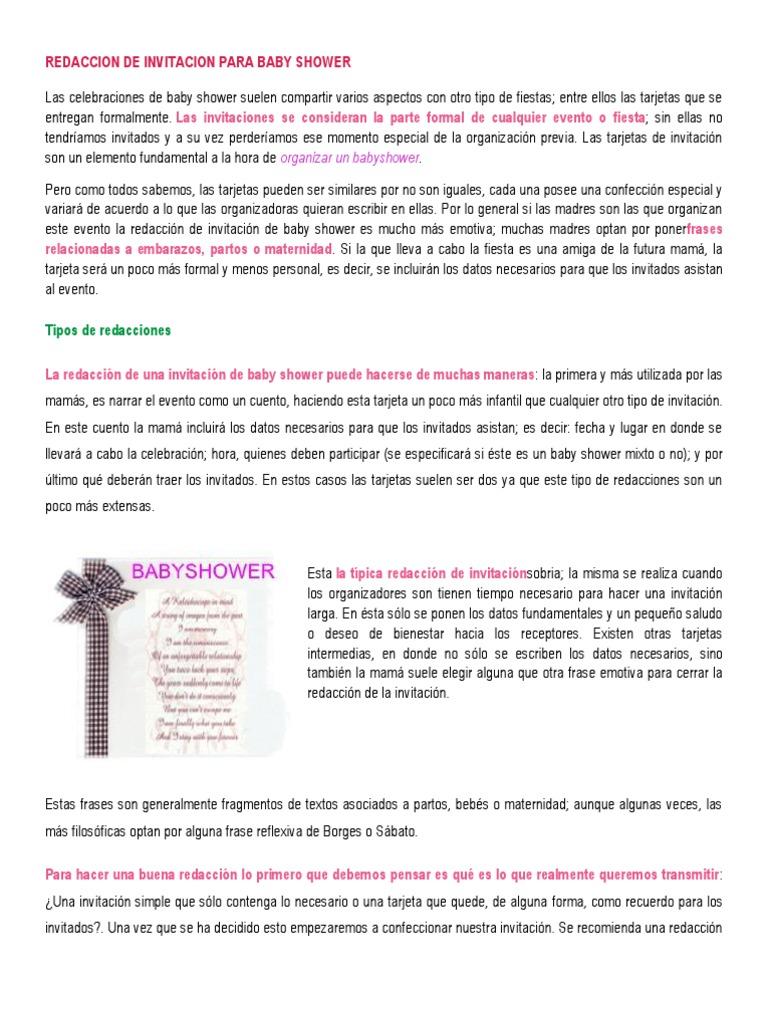 Redaccion De Invitacion Para Baby Shower Cuentos