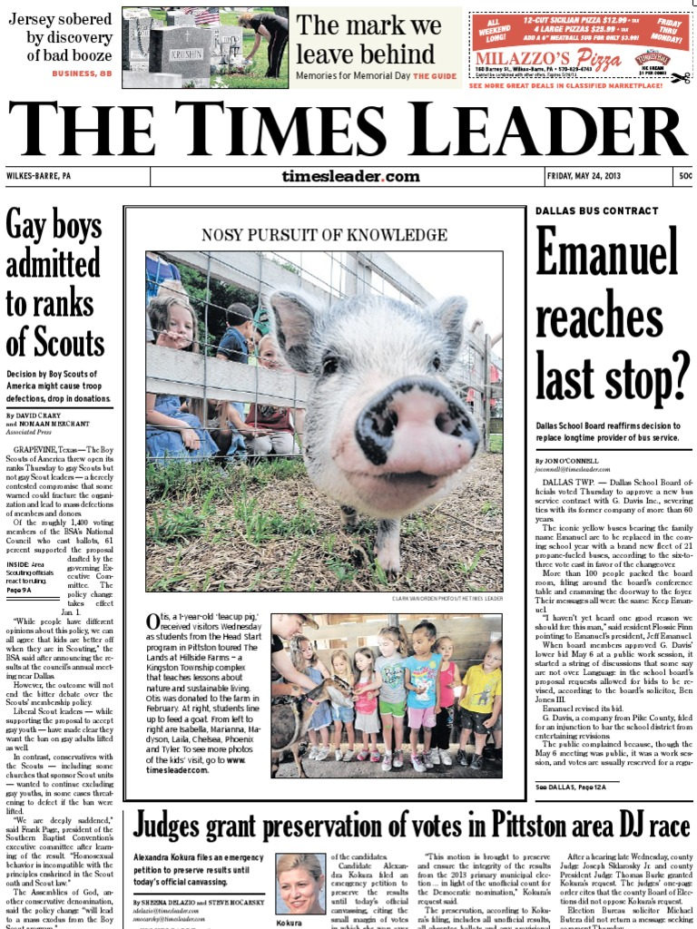 Times Leader 05 24 2013 | Boy Scouts Of America | Prosecutor