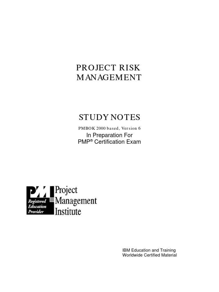 Pmi Pmp Exam Preparation Study Guide Project Risk Management