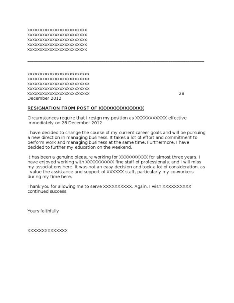 Resign Letter 24 hours Format