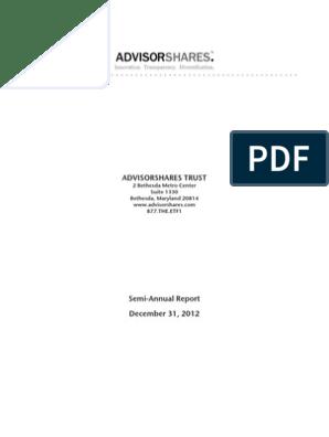 Advisorshares Semiannualreport 12312012 1 Stock Market Index Exchange Traded Fund