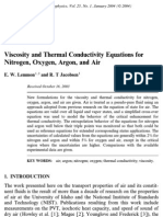 Viscosity and Thermal Conductivity Equations for N, O, Ar and Air