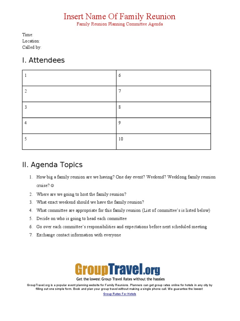 Family Reunion Planning Meeting Agenda – Family Agenda