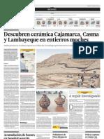 Descubren cerámica Cajamarca, Casma y Lambayeque en entierros moches