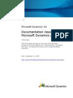 Microsoft Dynamics AX 2009 Documentation Resources