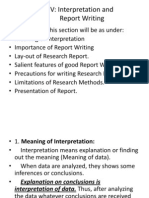 Section - V Interpretation Report Writng