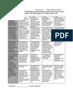 rubric for 10h comparison paper on two medieval romances