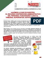 Comunicado recurso contencioso-administrativo contra la supresión de la paga exta de Diciembre